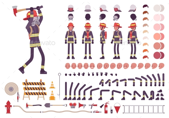 GraphicRiver Firefighter Character Creation Set 20880720