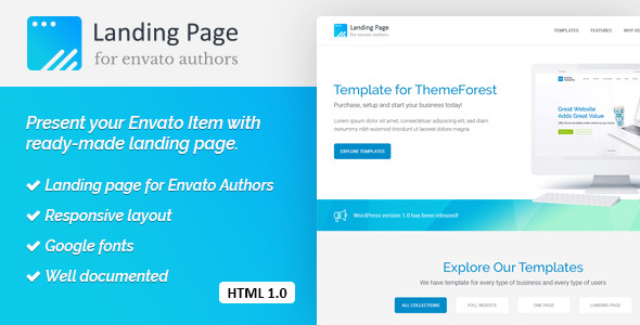 ThemeForest Landing Page HTML Template for Envato Authors 20809987