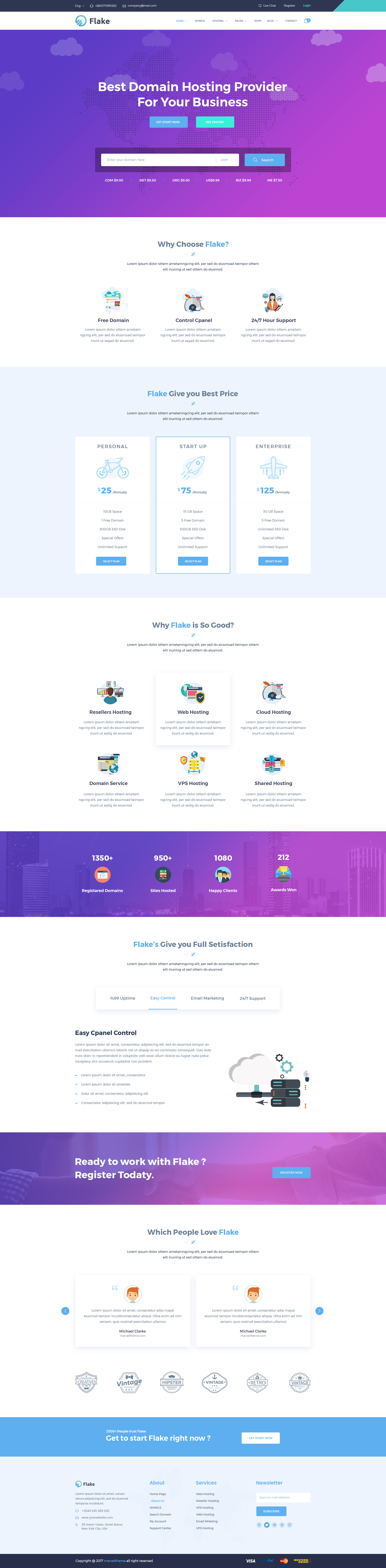 flake domain hosting and technology psd template by marvel theme
