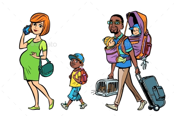 Multi Ethnic Family Travelers - People Characters