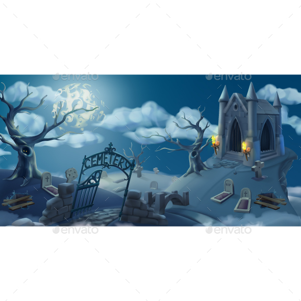 GraphicRiver Cemetery Halloween Background 20880920