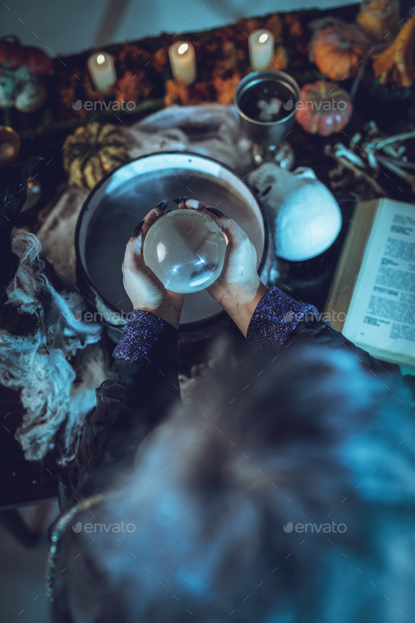 Magic Ball In Witch's Hands - Stock Photo - Images
