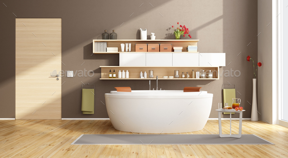 Moder bathroom with round bathtub - Stock Photo - Images