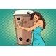 Woman Hugs Coffee Cup