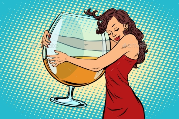 Woman Hugging a Glass of Wine - People Characters