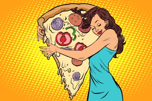 GraphicRiver Woman Hugging a Pizza 20881007