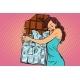 Woman Hugs Chocolate