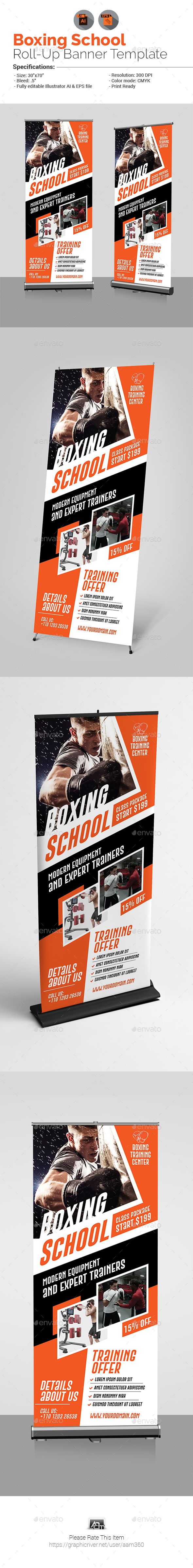 GraphicRiver Boxing School Roll-Up Banner 20881027