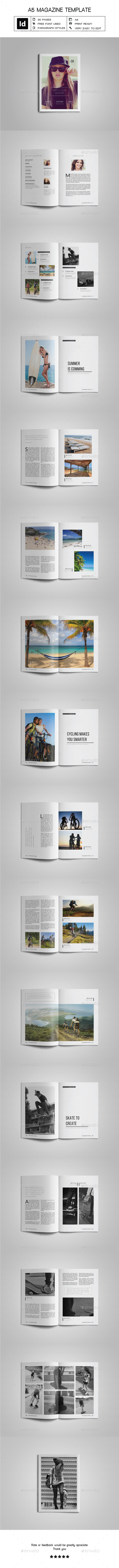 A5 Simple & Clean Magazine Template - Magazines Print Templates