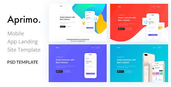 Aprimo-Mobile App Landing Page PSD Template