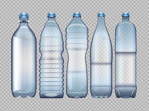 GraphicRiver Set of Blue Transparent Plastic Bottles 20881154