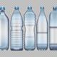 Set of Blue Transparent Plastic Bottles