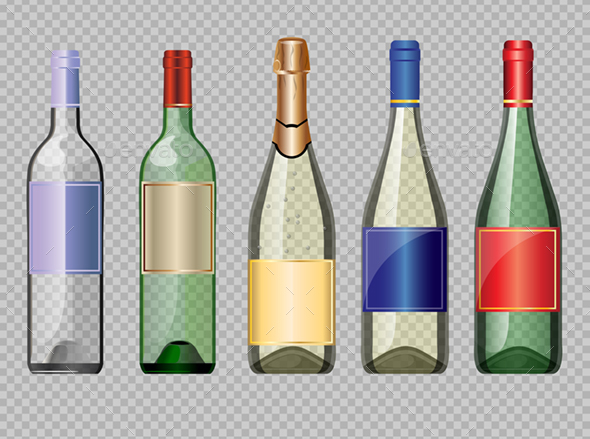 Set of Wine and Champagne Bottles Mockup - Man-made Objects Objects