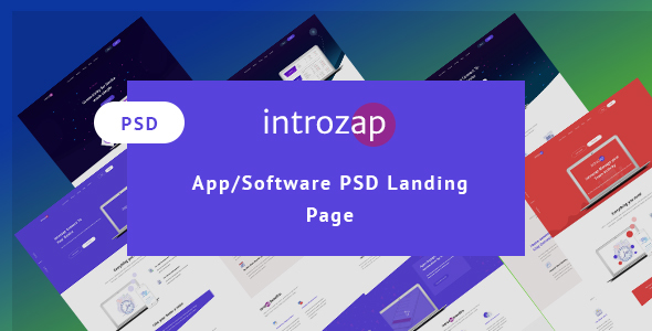 introzap - Software & Apps  PSD Landing Page - Corporate PSD Templates
