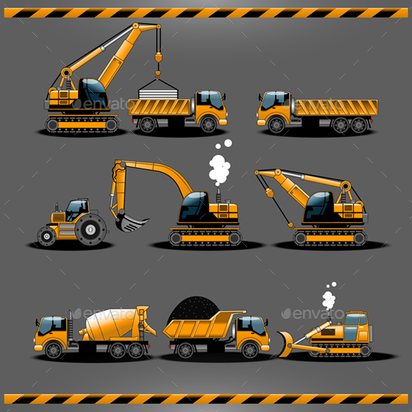 GraphicRiver Set of Construction Cars Set 20881259