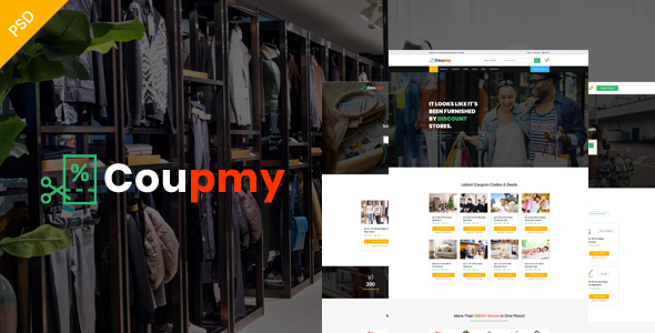 Coupmy-Coupons, Affiliates, Offers, Deals, Discounts & Marketplace PSD Template - Retail PSD Templates