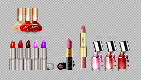 Digital Vector Silver Container and Colored Glamorous Lipsticks - Man-made Objects Objects