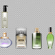 Digital Vector Red Green and Brown Glass Perfume