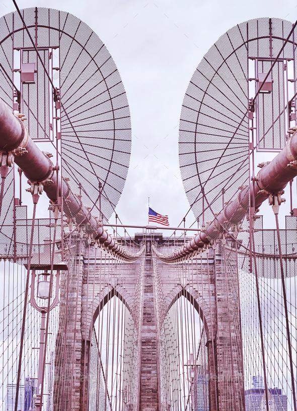 Brooklyn Bridge, one of New York City symbols, USA. - Stock Photo - Images