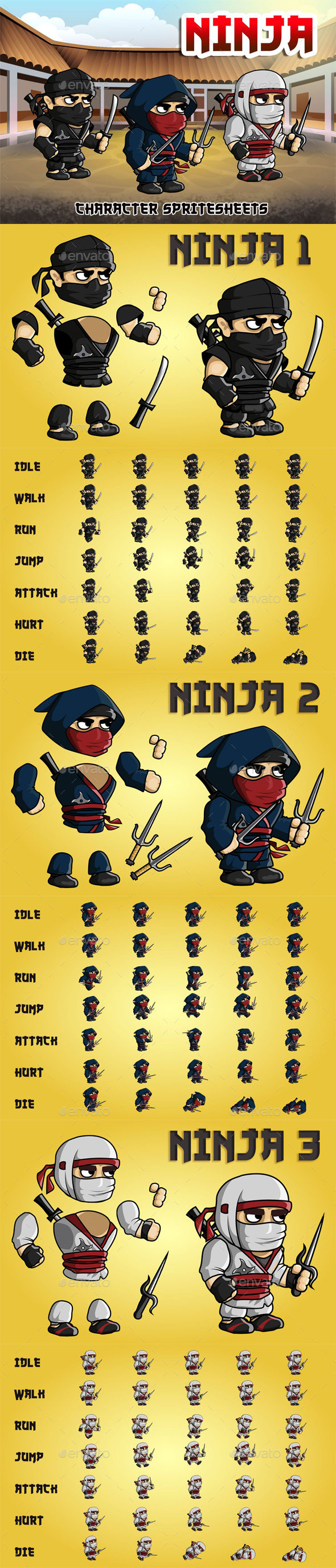 GraphicRiver Ninja 2D Game Character Sprite Sheet 20881716