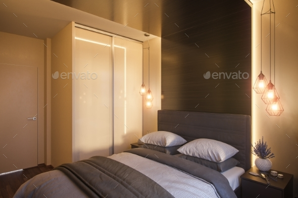 3d Illustration of a Bedroom Interior Design - Architecture 3D Renders