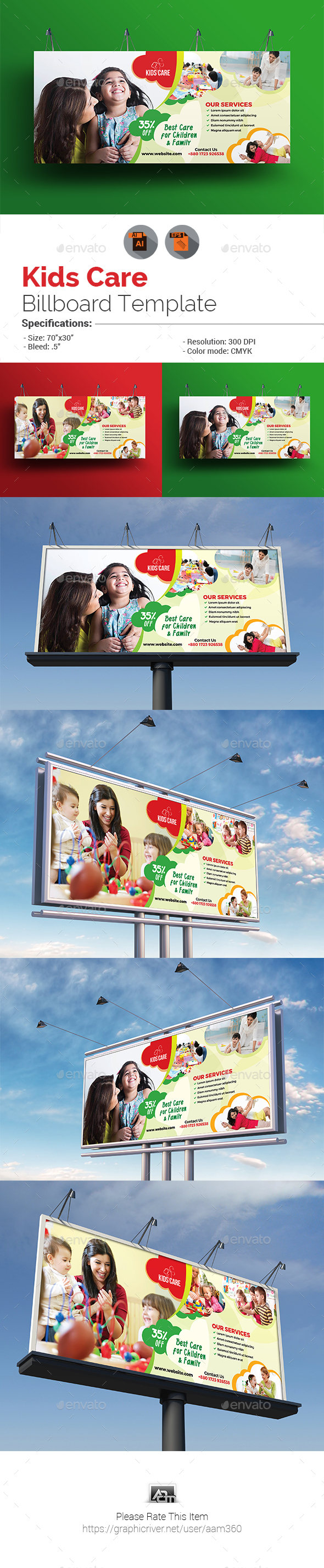 GraphicRiver Child Care Billboard Template 20881970
