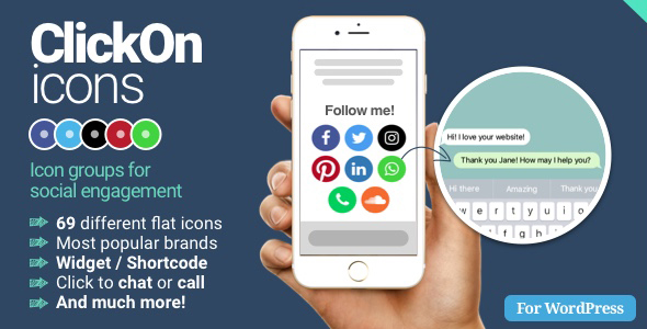 ClickOn Icons - Chat, call and open social media profile pages