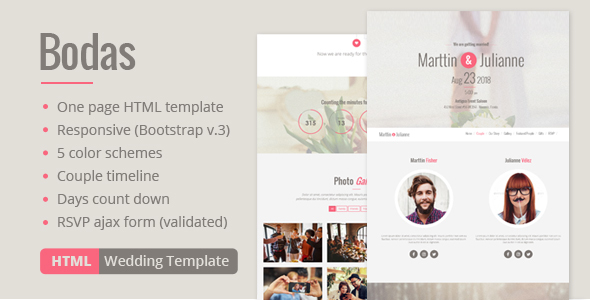 ThemeForest Bodas HTML Wedding Template 20804627