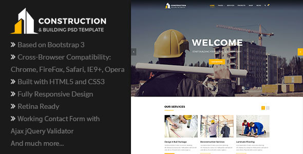 ThemeForest Construction Construction Company Building Company HTML Template 20882445