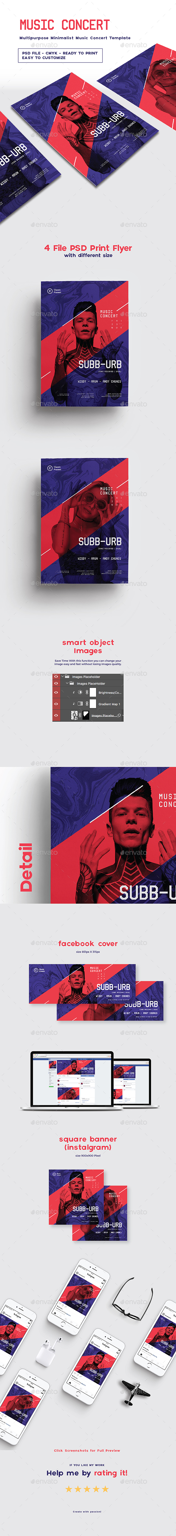 GraphicRiver Multipurpose Minimalist Music Concert Template 20868628