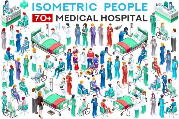 Hospital Staff Doctor Vector Set - Vectors