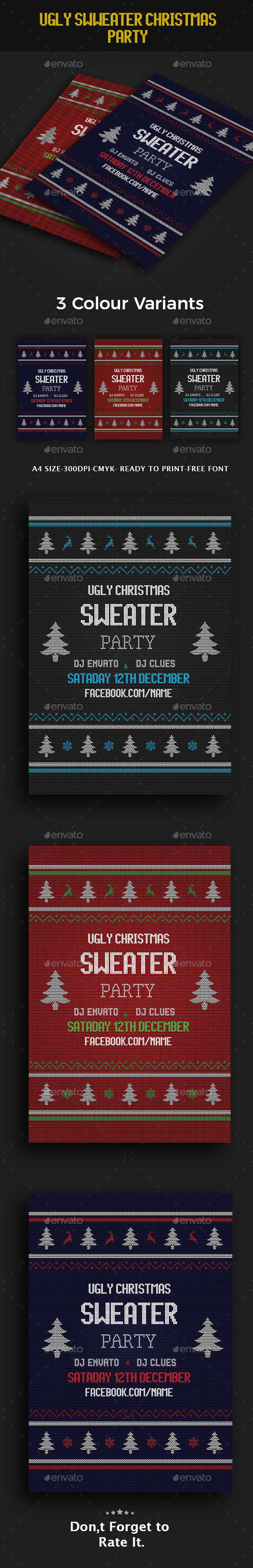 Ugly Sweater Party Flyer - Flyers Print Templates
