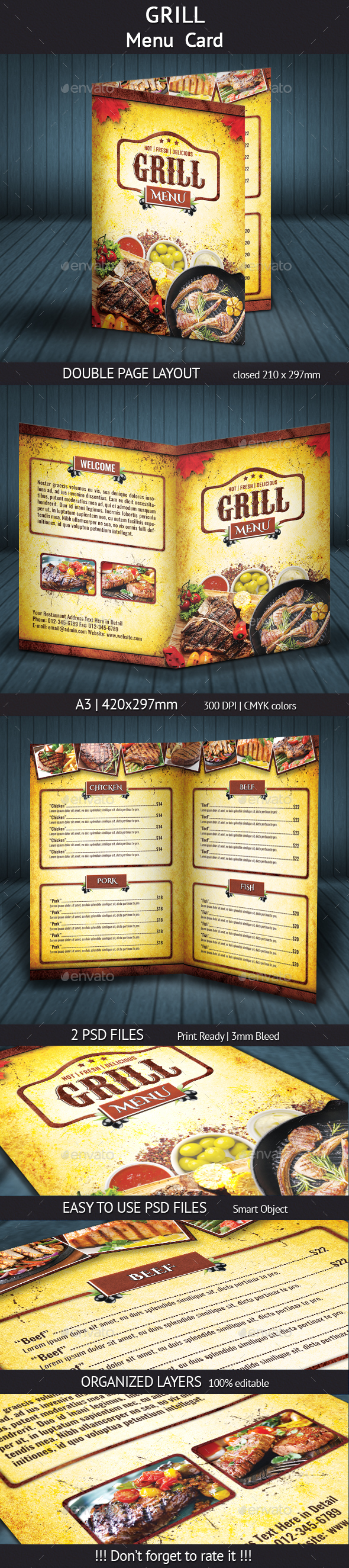 Grill Menu (A4) - Food Menus Print Templates