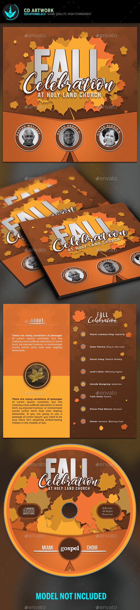 Fall Celebration CD Artwork Template - CD & DVD Artwork Print Templates