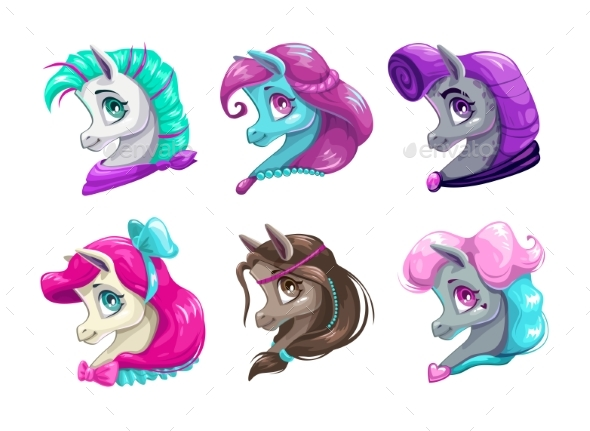 Cartoon Pretty Horses Faces. - Animals Characters