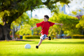 Young excited boy kicking ball in the grass - PhotoDune Item for Sale