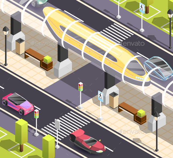 GraphicRiver Futuristic Transport Isometric Background 20883428