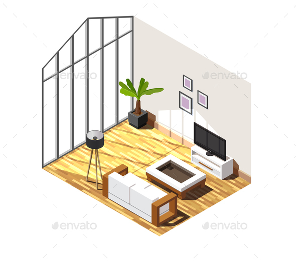 Living Room Interior Isometric Composition - Buildings Objects