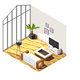 Living Room Interior Isometric Composition