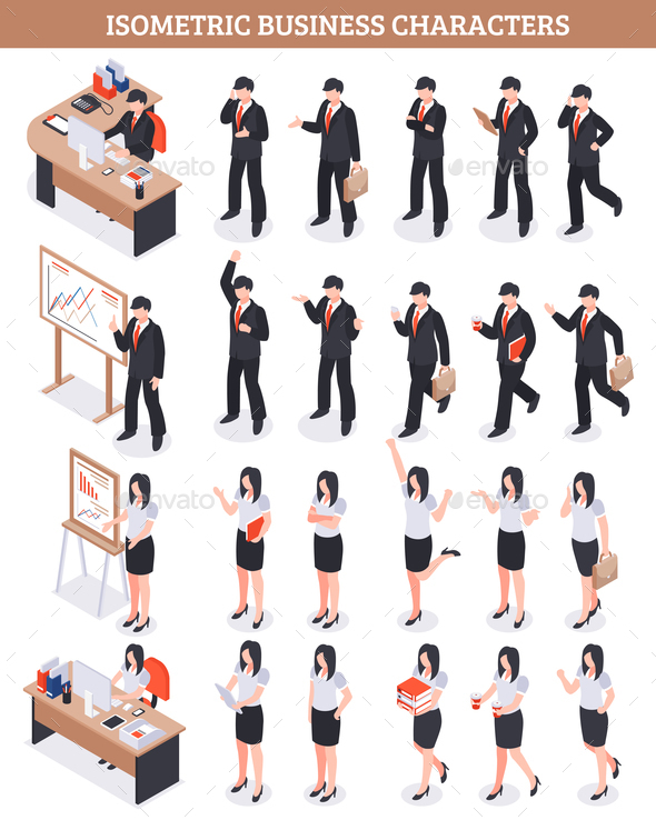 Business Characters Isometric Set - People Characters