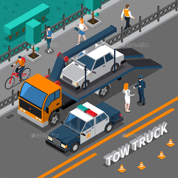 GraphicRiver Tow Truck Isometric Composition 20883452