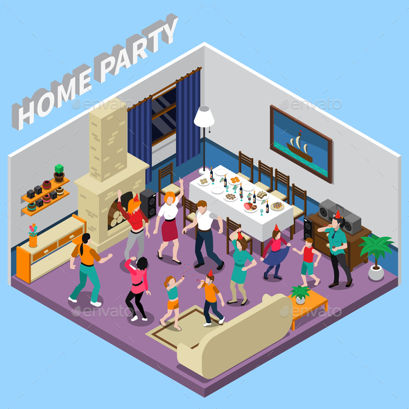 Home Party Isometric Composition - Seasons/Holidays Conceptual