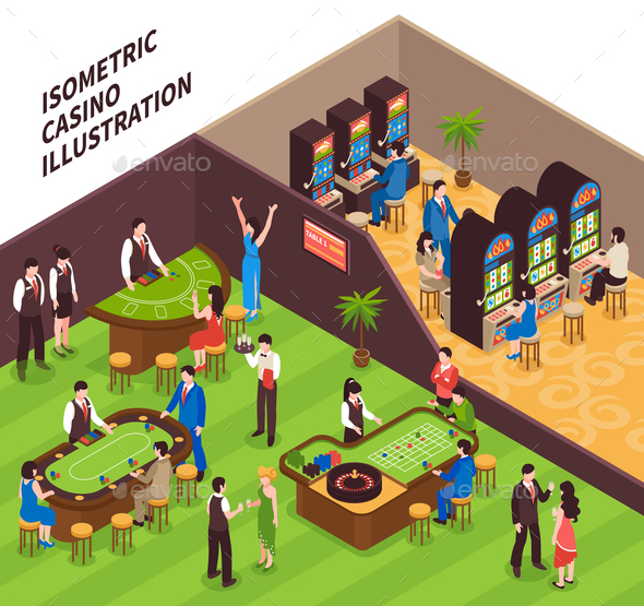 Isometric Casino Illustration - People Characters