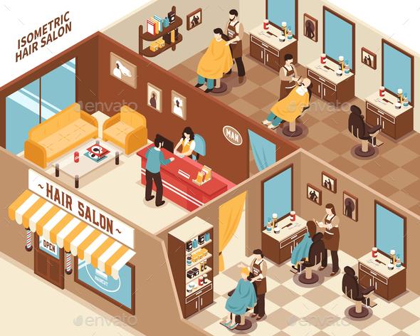 GraphicRiver Barbershop Isometric Illustration 20883520