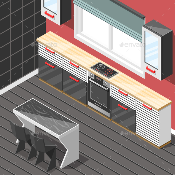 Kitchen Futuristic Interior Isometric Background - Buildings Objects