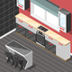 Kitchen Futuristic Interior Isometric Background