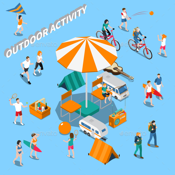 Summer Outdoor Activity People Composition - Sports/Activity Conceptual