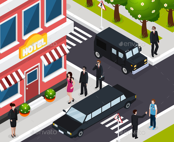 Special Agent Isometric Composition - People Characters