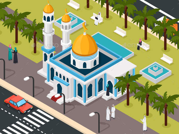 GraphicRiver Arab Muslims Near Mosque Composition 20883541