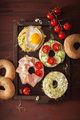 variety of sandwiches on bagels: egg, avocado, ham, tomato, soft - PhotoDune Item for Sale